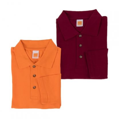 APP0027 Long Sleeve Honey Comb T-shirt - Orange & Maroon