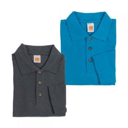 APP0027 Long Sleeve Honey Comb T-shirt - Dark Grey Melange & Sea Blue