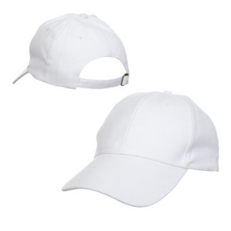 CAP0017 Baseball 6-Panel Cotton Brush Cap - White