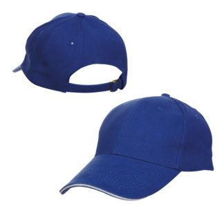 CAP0019 Baseball 6-Panel Cotton Brush Cap - Royal (S/White)