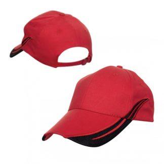 CAP0034 Baseball 6-Panel Cap - Red/Black
