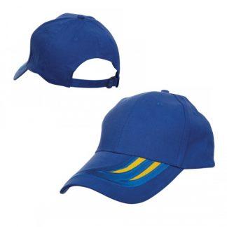 CAP0036 Baseball 6-Panel Cotton Brush Cap - Royal/Golden Yellow