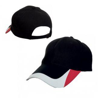 CAP0039 Baseball 6-Panel Cotton Brush Cap - Black (S/Red/White)