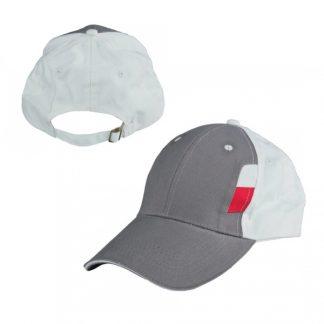 CAP0041 Baseball 6-Panel Cotton Brush Cap - Dark Grey/White