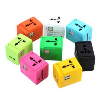 IT0557 Colourful Universal Travel Adaptor with 2 USB Hub