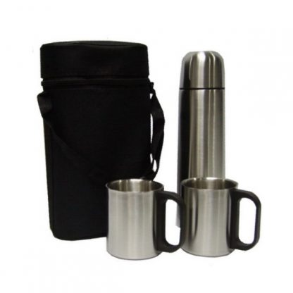 MGS0152 Stainless Steel Vacuum Flask with 2 Cups & Pouch