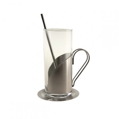 MGS0296 Glass with Stainless Steel Holder & Stirrer cum Straw