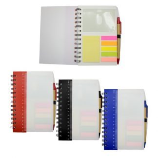 STA0594 Ruler Notebook with Sticky Notes & Pen