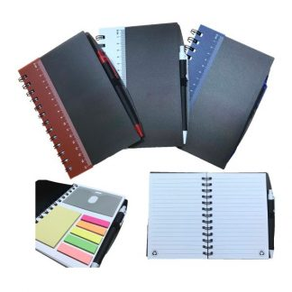 STA0618 Ruler Notebook with Sticky Notes & Pen