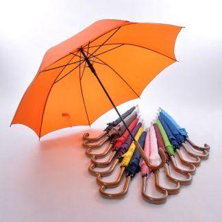 """UMB0021 24"""" Non-UV Coated Curve Handle Long Umbrella"""