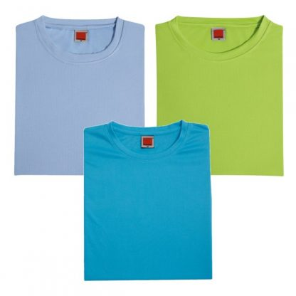 APP0044 Quick Dry Round Neck Female T-shirt - Light Blue, Lime Green & Sea Blue