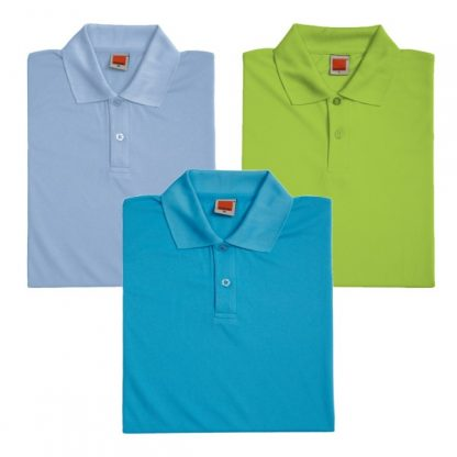APP0045 Quick Dry Female Polo T-shirt - Light Blue, Lime Green & Sea Blue