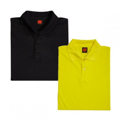 APP0045 Quick Dry Polo T-shirt - Black & Yellow