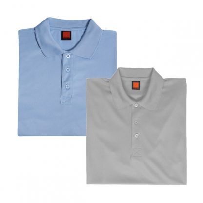 APP0045 Quick Dry Polo T-shirt - Light Blue & Light Grey