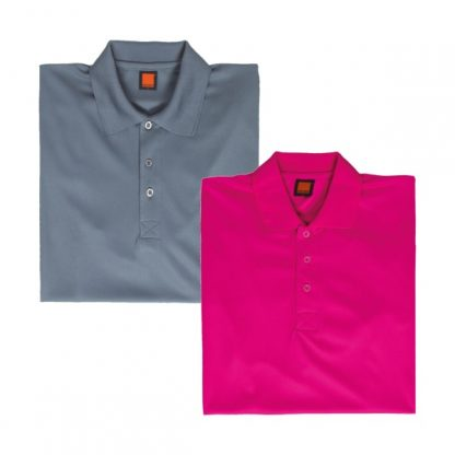 APP0045 Quick Dry Polo T-shirt - Dark Grey & Magenta