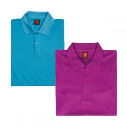 APP0045 Quick Dry Polo T-shirt - Sea Blue & Dark Purple