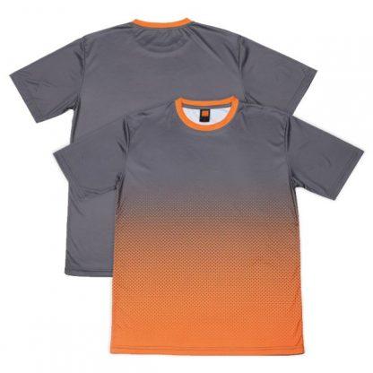 APP0118 Quick Dry Sublimation Printing Round Neck T-shirt - Dark Grey/Orange