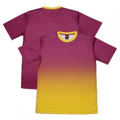APP0118 Quick Dry Sublimation Printing Round Neck T-shirt - Dark Purple/Yellow