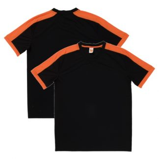 APP0141 Quick Dry Round Neck T-shirt - Black/Orange