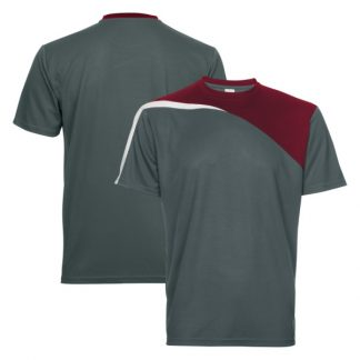 APP0178 Quick Dry Round Neck T-shirt - Dark Grey/Maroon/White