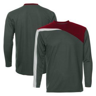 APP0179 Quick Dry Round Neck Long Sleeve T-shirt - Dark Grey/Maroon/White