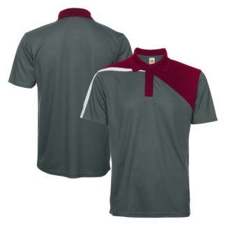 APP0180 Quick Dry Polo T-shirt - Dark Grey/Maroon/White