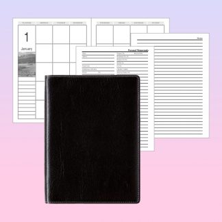 ORN0063 Note Book Black Textured PU with White Stitching Cover