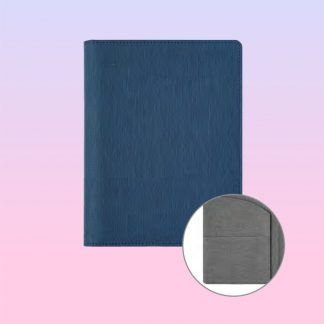 ORN0236 Professional Portfolio Blue Textured with Inner Grey Italy PU Cover