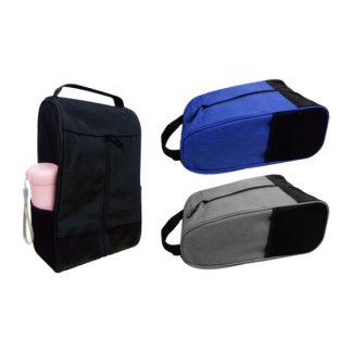 BG0843 Melange Nylon Shoe Bag with 2 Mesh Knit Side Pockets