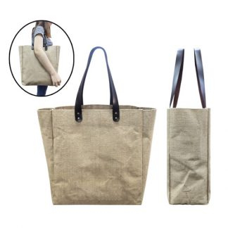 BG0860 Jute Tote Bag with PU Leather Handles
