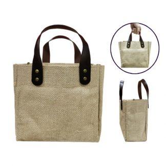 BG0861 Jute Tote Bag with PU Leather Handles