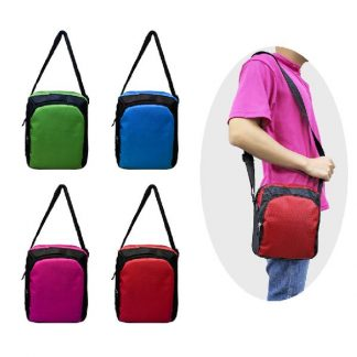 BG0892 Two Tone Polyester Sling Pouch with 2-Zip compartments