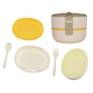 LSP0417 Two compartment Lunch Box with Spoon and Fork