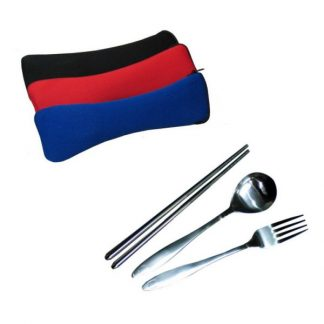 LSP0442 Chopstick with Fork & Spoon in Neoprene Zipper Pouch
