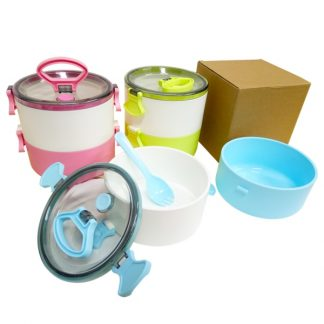 LSP0515 Two Tier Lunch Box with 2-in-1 Fork & Spoon