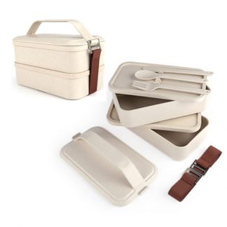LSP0538 Two Tier Lunch Box with Cutlery Set