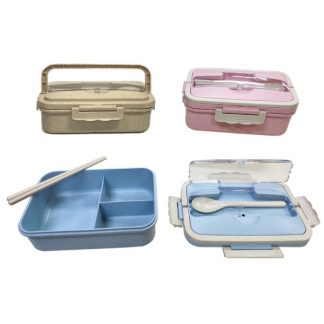 LSP0547 Wheat Straw Bento Lunch Box with Handle
