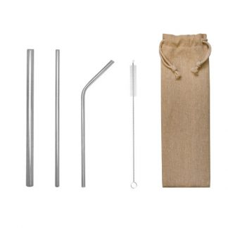 LSP0566 Stainless Steel 5pcs Straw Set in Canvas Bag