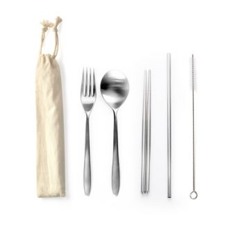 LSP0578 Stainless Steel 5pcs Cutlery Set with Straw