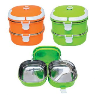 LSP0587 Stainless Steel 2 Tier Lunch Box with Spoon