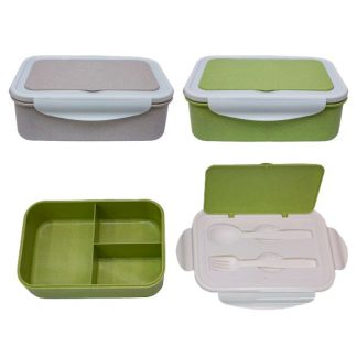 LSP0599 Wheat Fiber Lunch Box with Spoon & Fork