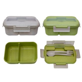 LSP0600 Wheat Fiber Lunch Box with Spoon & Fork