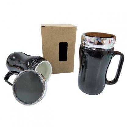 MGS0573 Black Porcelain Mug with Sliver Acrylic Lid - 400ml