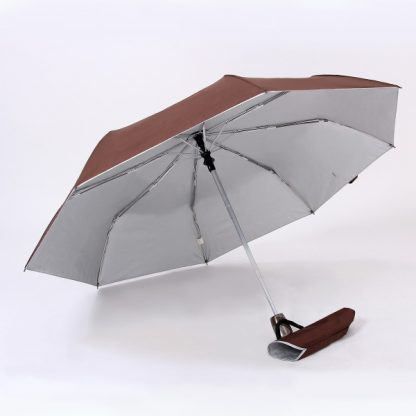 UMB0098 – 21″ Auto Open and Close Foldable UV Umbrella - Brown