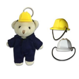 KEY0134 Mini Construction Helmet for Keychain Bear