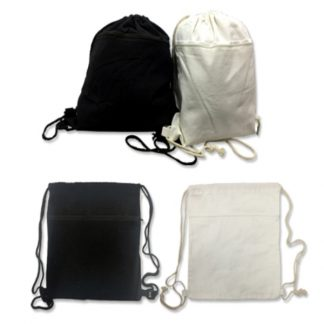 BG0840 - 8oz Cotton Canvas Drawstring Bag with Zip Compartment
