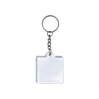 KEY0144 Acrylic Square Shape Metal Keychain