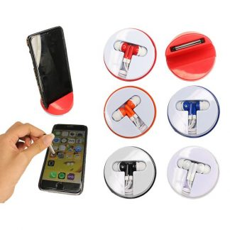 LSP0495 - 3 in 1 Phone Holder with Stereo Earphones and Stylus
