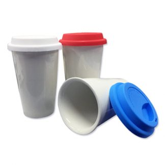 MGS0597 Double Wall Ceramic Mug with Coloured Silicon Lid - 280ml