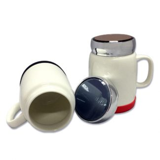 MGS0598 Porcelain Mug with Silver Lid & Silicon Base